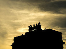 Silhouette technique of Arc du Carrousel landmark in Paris. PARIS - SEPTEMBER 28: Silhouette technique of Arc du Carrousel is landmark near Louvre museum, to Stock Image