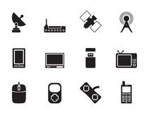 Silhouette technology and Communications icons Stock Photo