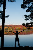 Silhouette of a teenage girl in nature Stock Photos