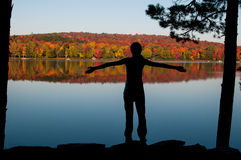 Silhouette of a teenage girl in nature Stock Images