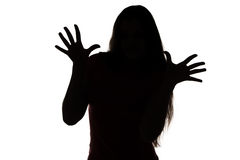 Silhouette of teenage girl with palm and fingers Royalty Free Stock Images