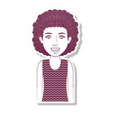 Silhouette teenager with curly hair Royalty Free Stock Photo