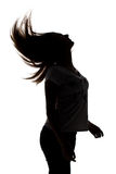 Silhouette of teenager girl with hairs Stock Images