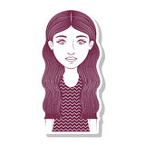 Silhouette teenager with long wavy hair Royalty Free Stock Photo