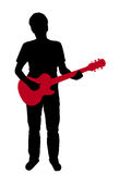 Teens with an electric guitar. Silhouette of a teens with an electric guitar on white background Royalty Free Stock Photography