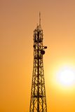 Silhouette of Tele-radio tower in sunset Royalty Free Stock Photos