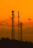 Silhouette telecommunications antenna for mobile phone Royalty Free Stock Photo