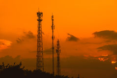 Silhouette telecommunications antenna for mobile phone Stock Photography
