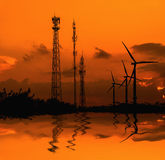 Silhouette telecommunications antenna for mobile phone Royalty Free Stock Photos