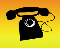 Silhouette of a telephone Stock Photos