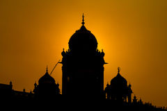Silhouette Temple in Amritsar, India at sunset Royalty Free Stock Photography