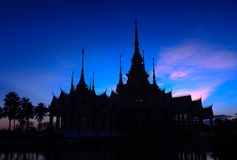 Silhouette of Temple Buddhist Stock Photo