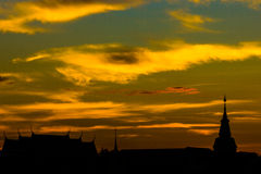 Silhouette of temple and pagoda Royalty Free Stock Images
