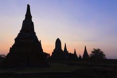 Silhouette temple in the twilight scene Stock Photo