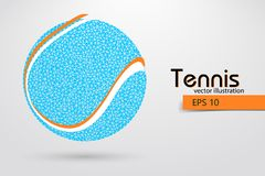 Silhouette of a tennis ball from particles. Text and background on a separate layer, color can be changed in one click. Tennis player royalty free illustration
