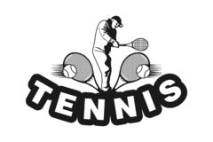 Silhouette Tennis Player Logo Designs Inspiration Isolated on White Background. royalty free illustration