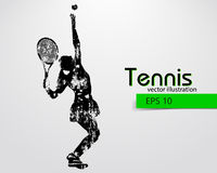 Silhouette of a tennis player. Text and background on a separate layer, color can be changed in one click Stock Photos