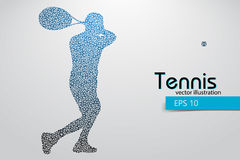 Silhouette of a tennis player from triangles. Text and background on a separate layer, color can be changed in one click. Tennis player Royalty Free Stock Photo