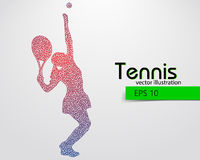 Silhouette of a tennis player from triangles. Text and background on a separate layer, color can be changed in one click Stock Photos