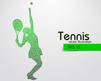Silhouette of a tennis player from triangles. Text and background on a separate layer, color can be changed in one click Royalty Free Stock Image