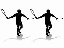Silhouette tennis player , vector drawing Royalty Free Stock Image