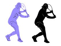 Silhouette tennis player Royalty Free Stock Images