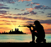 Silhouette of a terrorist Royalty Free Stock Images