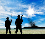Silhouette of terrorists Royalty Free Stock Image