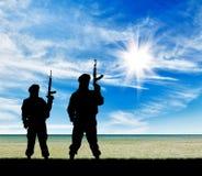 Silhouette of terrorists Royalty Free Stock Photos