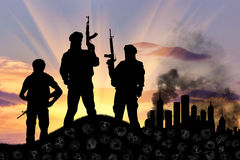 Silhouette of terrorists Stock Photo