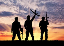 Silhouette of a terrorists Royalty Free Stock Photo