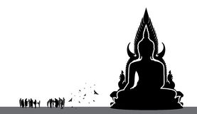 Silhouette of Thai Buddha Royalty Free Stock Photography