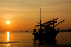 Silhouette of Thai Fishing Boat Stock Images