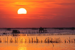 Silhouette of thai fishing house Royalty Free Stock Photography