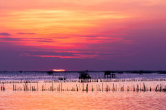 Silhouette of thai fishing house Royalty Free Stock Photo