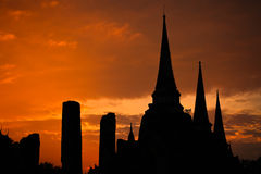 Silhouette of thai pagoda in ayutthaya Royalty Free Stock Image