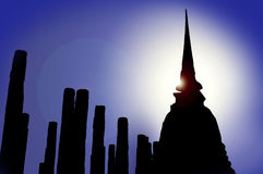 Silhouette of thai stupa Stock Photo