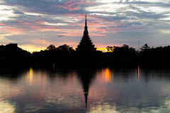 Silhouette thai temple Stock Photography