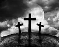 Silhouette of three crosses Stock Photography