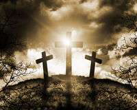 Silhouette of three crosses Stock Photos