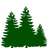 Silhouette of three green Christmas trees, on white background,. Vector Stock Photos