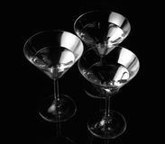 Silhouette of Three martini glass. Royalty Free Stock Image