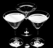 Silhouette of Three martini glass. Stock Photos