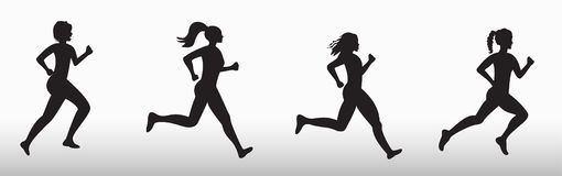Silhouette of three running women stock illustration