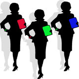 Silhouette of three Secretaries Stock Photo