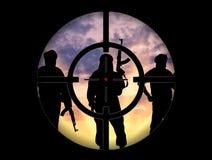 Silhouette of three terrorists Royalty Free Stock Image