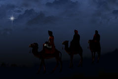 Three Wise Men following a star royalty free illustration