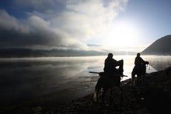 Silhouette of Tibetan riders. The silhouette of Tibetan riders Stock Photo