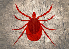 Silhouette of Tick parasite. Sketch of Mite Royalty Free Stock Images