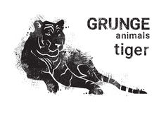 Silhouette Tiger In Grunge Design Style Animal Icon Royalty Free Stock Photos